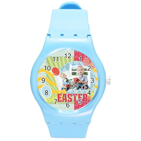 Easter By Easter   Round Plastic Sport Watch (m)   0mxps9d7fmv1   Www Artscow Com Front