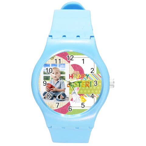 Easter By Easter   Round Plastic Sport Watch (m)   Hffne4dtlr8v   Www Artscow Com Front
