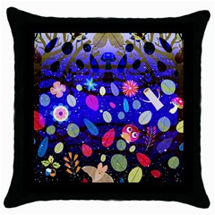 Magic Glade Black Throw Pillow Case