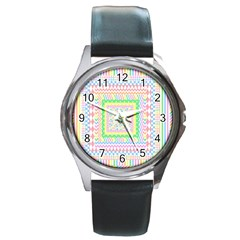 Layered Pastels Round Leather Watch (silver Rim) by StuffOrSomething
