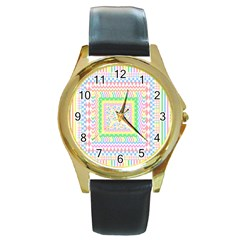 Layered Pastels Round Leather Watch (gold Rim)  by StuffOrSomething