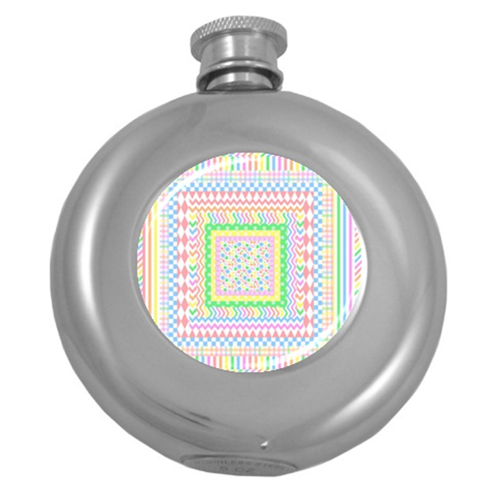 Layered Pastels Hip Flask (Round)