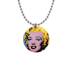 warhol Marilyn-Posters 1  Button Necklace by bonniebeautyplanet
