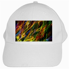 Colourful Flames  White Baseball Cap by Colorfulart23