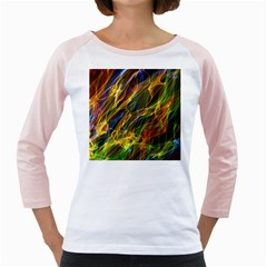 Colourful Flames  Women s Long Cap Sleeve T Shirt (white)  by Colorfulart23