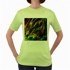 Colourful Flames  Women s T Shirt (green) by Colorfulart23