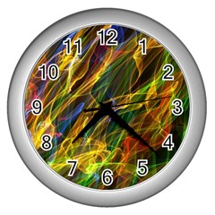 Colourful Flames  Wall Clock (silver) by Colorfulart23