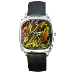 Colourful Flames  Square Leather Watch