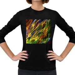 Colourful Flames  Women s Long Sleeve T Shirt (dark Colored) by Colorfulart23
