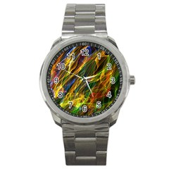 Colourful Flames  Sport Metal Watch by Colorfulart23