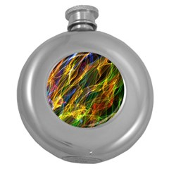 Colourful Flames  Hip Flask (round) by Colorfulart23