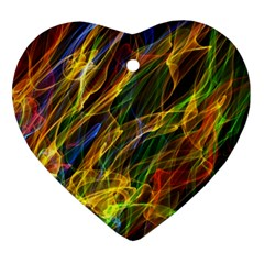 Colourful Flames  Heart Ornament (two Sides) by Colorfulart23