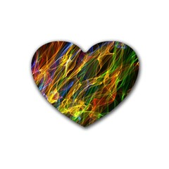 Colourful Flames  Drink Coasters 4 Pack (heart)  by Colorfulart23