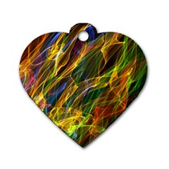 Colourful Flames  Dog Tag Heart (two Sided) by Colorfulart23