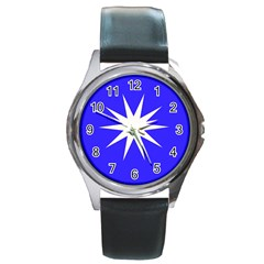 Deep Blue And White Star Round Leather Watch (silver Rim) by Colorfulart23