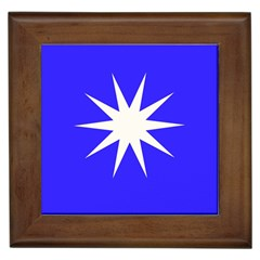 Deep Blue And White Star Framed Ceramic Tile by Colorfulart23