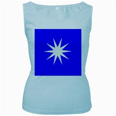 Deep Blue And White Star Women s Tank Top (baby Blue) by Colorfulart23