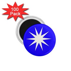 Deep Blue And White Star 1 75  Button Magnet (100 Pack) by Colorfulart23