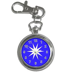 Deep Blue And White Star Key Chain Watch by Colorfulart23