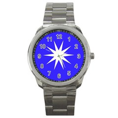 Deep Blue And White Star Sport Metal Watch by Colorfulart23