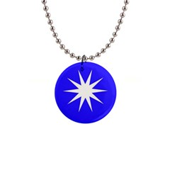 Deep Blue And White Star Button Necklace