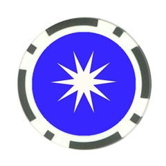 Deep Blue And White Star Poker Chip by Colorfulart23