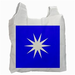 Deep Blue And White Star Recycle Bag (one Side) by Colorfulart23