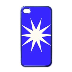 Deep Blue And White Star Apple Iphone 4 Case (black) by Colorfulart23