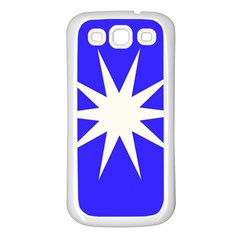 Deep Blue And White Star Samsung Galaxy S3 Back Case (white) by Colorfulart23