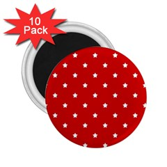 White Stars On Red 2 25  Button Magnet (10 Pack) by StuffOrSomething