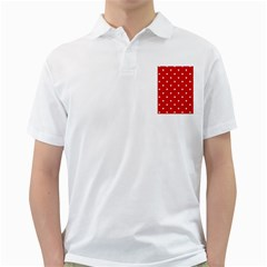 White Stars On Red Men s Polo Shirt (White) by StuffOrSomething