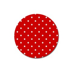 White Stars On Red Magnet 3  (round) by StuffOrSomething