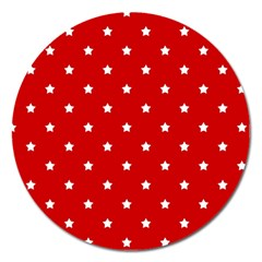 White Stars On Red Magnet 5  (round) by StuffOrSomething