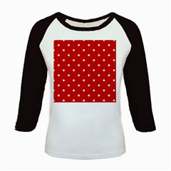 White Stars On Red Kids Long Cap Sleeve T Shirt by StuffOrSomething