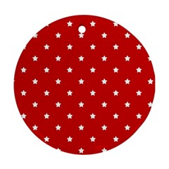 White Stars On Red Round Ornament (two Sides) by StuffOrSomething