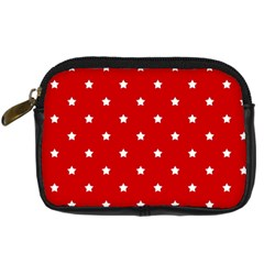 White Stars On Red Digital Camera Leather Case by StuffOrSomething