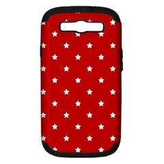 White Stars On Red Samsung Galaxy S III Hardshell Case (PC+Silicone) by StuffOrSomething