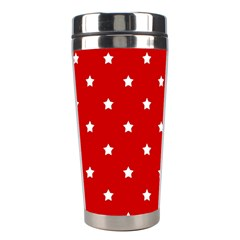 White Stars On Red Stainless Steel Travel Tumbler by StuffOrSomething