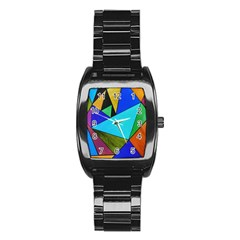 Abstract Stainless Steel Barrel Watch by Siebenhuehner