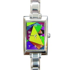 Abstract Rectangular Italian Charm Watch by Siebenhuehner
