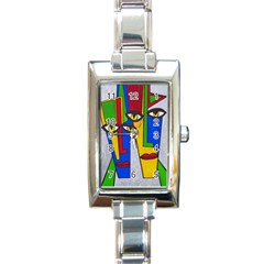 Face Rectangular Italian Charm Watch by Siebenhuehner