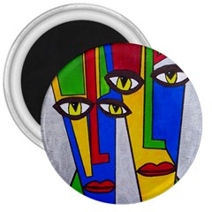 Face 3  Button Magnet by Siebenhuehner