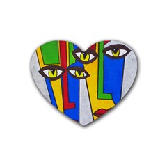 Face Drink Coasters 4 Pack (heart)  by Siebenhuehner