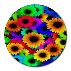 Colorful Sunflowers 8  Mouse Pad (round) by StuffOrSomething