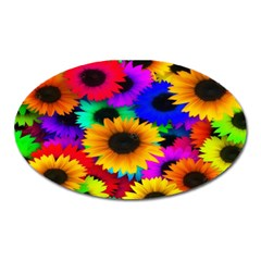 Colorful Sunflowers Magnet (oval) by StuffOrSomething