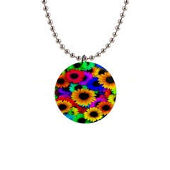 Colorful Sunflowers Button Necklace