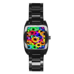 Colorful Sunflowers Stainless Steel Barrel Watch