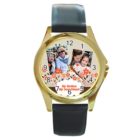 Mothers Day By Mom   Round Gold Metal Watch   Jz3bdokwoyxo   Www Artscow Com Front