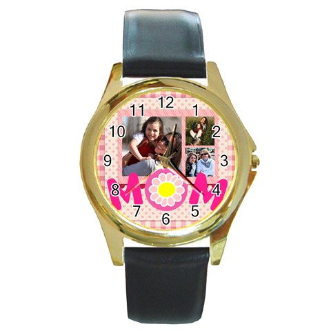 Mothers Day By Mom   Round Gold Metal Watch   7eop1h5klm9q   Www Artscow Com Front