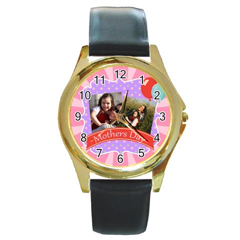 Mothers Day By Mom   Round Gold Metal Watch   Pu89n1ktgooi   Www Artscow Com Front